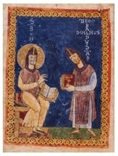 A miniature from Montecassino, MS 73, fol. iv © Archivio dell'Abbazia, Montecassino